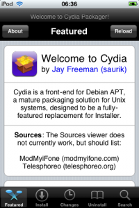 The Cydia Featured screen