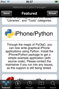 You can do iTouch apps with Python and PyObjC