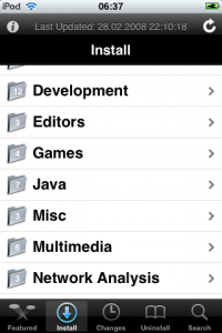 The Cydia package listing