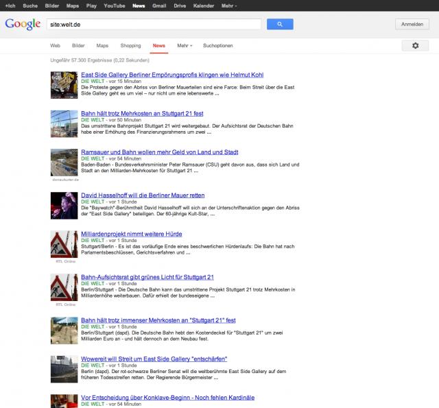 LSR: Aktuelle Google News Seite mit site:welt.de
