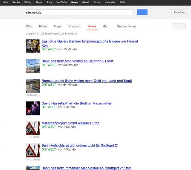 LSR: Google News Seite für welt.de ohne Snippets