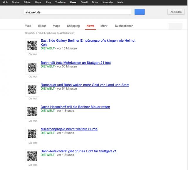 LSR: Google News Seite der Welt : Snippets als QR Code